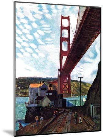 """""""Fishing Under the Golden Gate"""", November 16, 1957-John Falter-Mounted Premium Giclee Print"""
