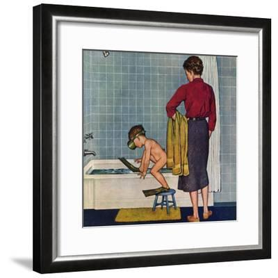 """Scuba in the Tub"", November 29, 1958-Amos Sewell-Framed Giclee Print"