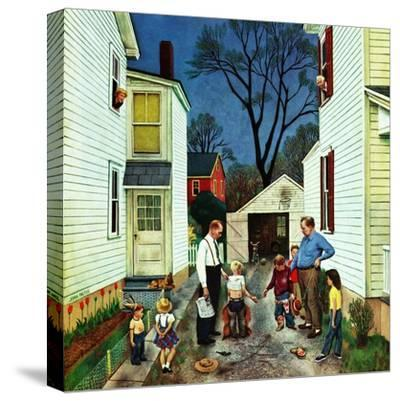 """Shaking Hands after the Fight"", May 5, 1951-John Falter-Stretched Canvas Print"