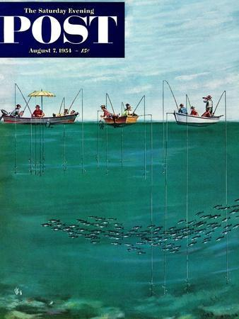 """""""School of Fish Among Lines"""" Saturday Evening Post Cover, August 7, 1954-Thornton Utz-Framed Giclee Print"""