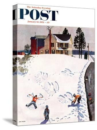 """""""Snow Angels"""" Saturday Evening Post Cover, January 10, 1953-John Falter-Stretched Canvas Print"""