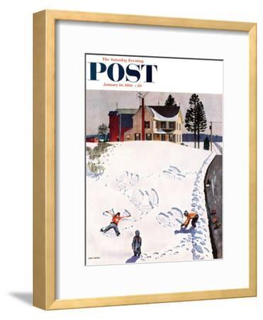 """Snow Angels"" Saturday Evening Post Cover, January 10, 1953-John Falter-Framed Premium Giclee Print"