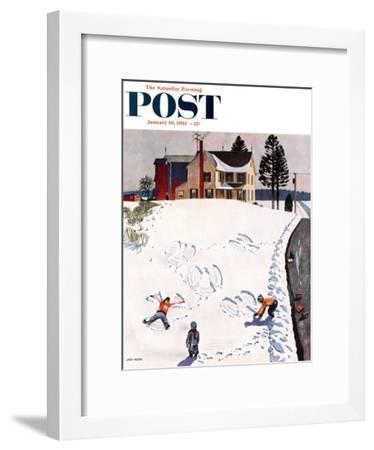"""Snow Angels"" Saturday Evening Post Cover, January 10, 1953-John Falter-Framed Giclee Print"