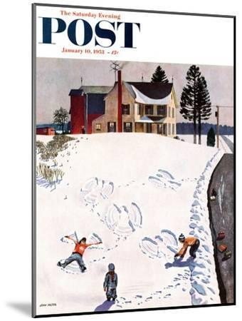 """""""Snow Angels"""" Saturday Evening Post Cover, January 10, 1953-John Falter-Mounted Giclee Print"""