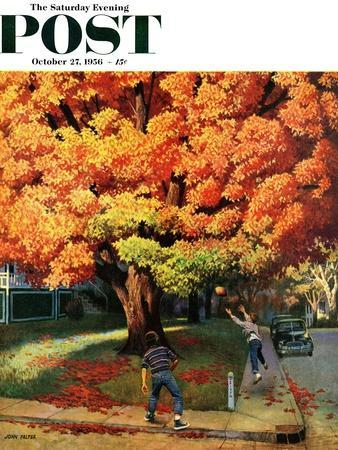 """Tossing the Football"" Saturday Evening Post Cover, October 27, 1956-John Falter-Premium Giclee Print"