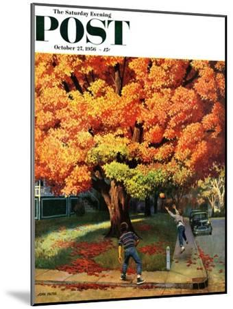 """Tossing the Football"" Saturday Evening Post Cover, October 27, 1956-John Falter-Mounted Giclee Print"