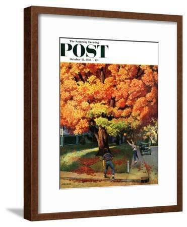 """Tossing the Football"" Saturday Evening Post Cover, October 27, 1956-John Falter-Framed Giclee Print"