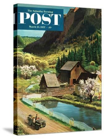"""Mountain Farm"" Saturday Evening Post Cover, March 23, 1957-John Clymer-Stretched Canvas Print"