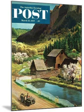 """Mountain Farm"" Saturday Evening Post Cover, March 23, 1957-John Clymer-Mounted Giclee Print"
