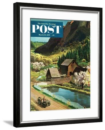 """Mountain Farm"" Saturday Evening Post Cover, March 23, 1957-John Clymer-Framed Giclee Print"