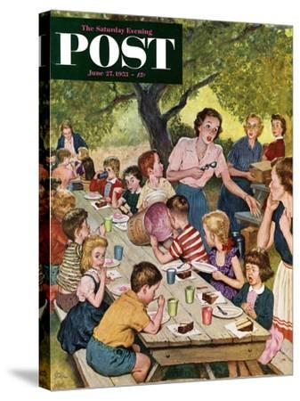 """""""Out of Ice Cream"""" Saturday Evening Post Cover, June 27, 1953-Amos Sewell-Stretched Canvas Print"""