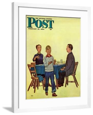 """""""Wash Your Hands"""" Saturday Evening Post Cover, February 18, 1950-Jack Welch-Framed Giclee Print"""