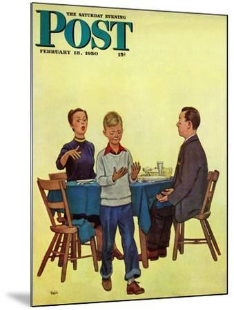 """""""Wash Your Hands"""" Saturday Evening Post Cover, February 18, 1950-Jack Welch-Mounted Giclee Print"""