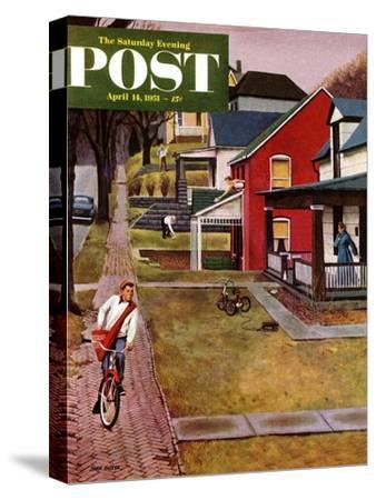 """Paperboy"" Saturday Evening Post Cover, April 14, 1951-John Falter-Stretched Canvas Print"