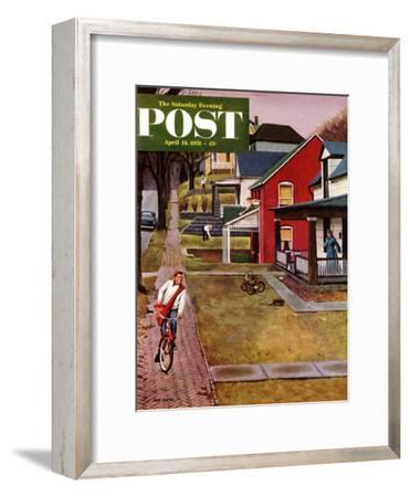 """Paperboy"" Saturday Evening Post Cover, April 14, 1951-John Falter-Framed Premium Giclee Print"