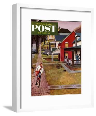 """Paperboy"" Saturday Evening Post Cover, April 14, 1951-John Falter-Framed Giclee Print"