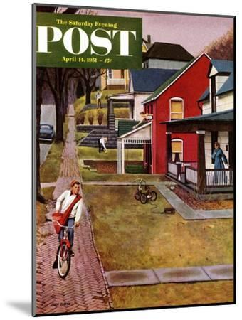 """""""Paperboy"""" Saturday Evening Post Cover, April 14, 1951-John Falter-Mounted Giclee Print"""