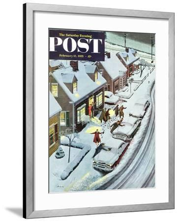 """Party After Snowfall"" Saturday Evening Post Cover, February 12, 1955-Ben Kimberly Prins-Framed Giclee Print"
