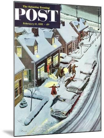 """Party After Snowfall"" Saturday Evening Post Cover, February 12, 1955-Ben Kimberly Prins-Mounted Giclee Print"