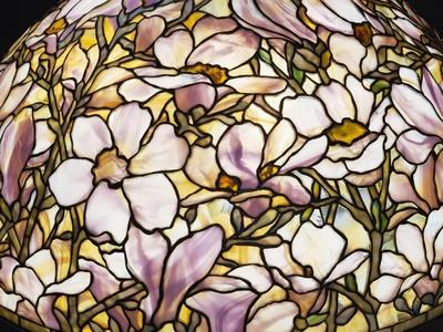Detail of a 'Magnolia' Leaded Glass and Bronze Floor Lamp by Tiffany Studios--Framed Giclee Print