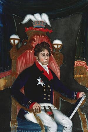 An Anglo Chinese Reverse Glass Painting of George Iv as Prince Regent--Stretched Canvas Print