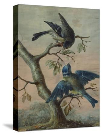 A Kingfisher on a Sapling; and a Blue Tit with a Finch on a Sapling-Christoph Ludwig Agricola-Stretched Canvas Print