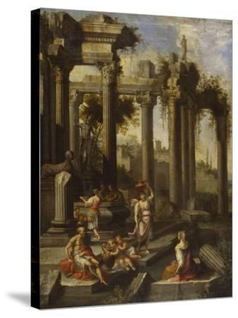 Capricci of Classical Ruins with Water Carriers, Philosophers and Noblemen (Left Panel)-Giovanni Ghisolfi (Circle of)-Stretched Canvas Print
