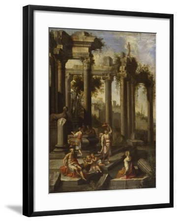 Capricci of Classical Ruins with Water Carriers, Philosophers and Noblemen (Left Panel)-Giovanni Ghisolfi (Circle of)-Framed Giclee Print