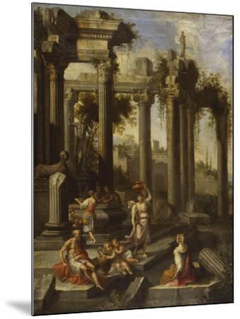 Capricci of Classical Ruins with Water Carriers, Philosophers and Noblemen (Left Panel)-Giovanni Ghisolfi (Circle of)-Mounted Giclee Print