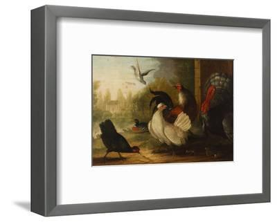 A Turkey, a Duck and Poultry in an Ornamental Garden-Marmaduke Cradock-Framed Premium Giclee Print