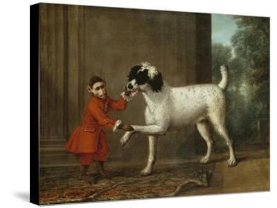 A Monkey Wearing Crimson Livery Dancing with a Poodle on the Terrace of a Country House-John Wootton-Stretched Canvas Print