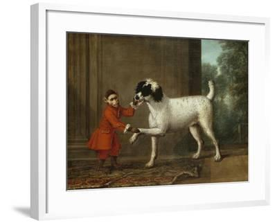 A Monkey Wearing Crimson Livery Dancing with a Poodle on the Terrace of a Country House-John Wootton-Framed Giclee Print