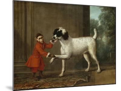 A Monkey Wearing Crimson Livery Dancing with a Poodle on the Terrace of a Country House-John Wootton-Mounted Giclee Print