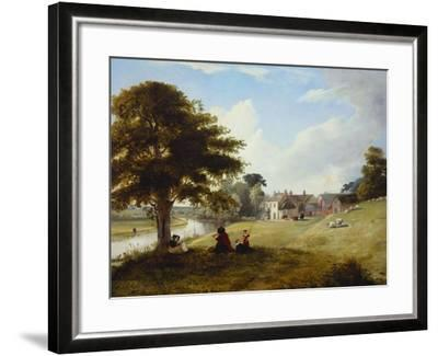 A River Landscape, with a Woman Sketching, a Girl and Her Dog by a Tree, and Other Children and…-Sarah Ferneley-Framed Giclee Print