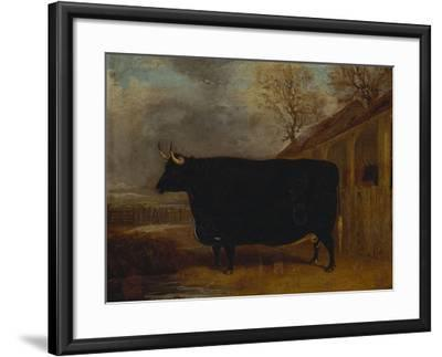 A Black Bull Standing by a Cowshed, an Extensive Landscape Beyond-James Pollard-Framed Giclee Print