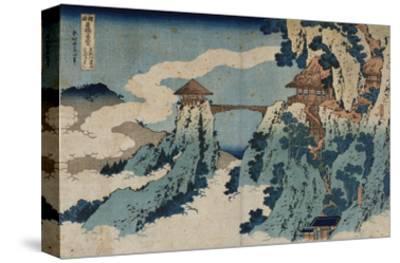 Cloud Hanging Bridge at Mount Gyodo, Ashikaga, from the Series 'Rare Views of Famous Japanese…-Katsushika Hokusai-Stretched Canvas Print