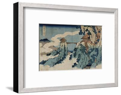Cloud Hanging Bridge at Mount Gyodo, Ashikaga, from the Series 'Rare Views of Famous Japanese…-Katsushika Hokusai-Framed Premium Giclee Print