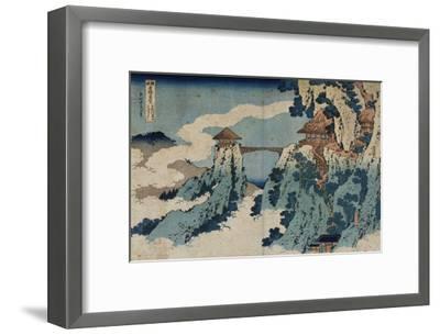 Cloud Hanging Bridge at Mount Gyodo, Ashikaga, from the Series 'Rare Views of Famous Japanese…-Katsushika Hokusai-Framed Giclee Print