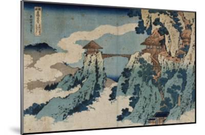 Cloud Hanging Bridge at Mount Gyodo, Ashikaga, from the Series 'Rare Views of Famous Japanese…-Katsushika Hokusai-Mounted Giclee Print