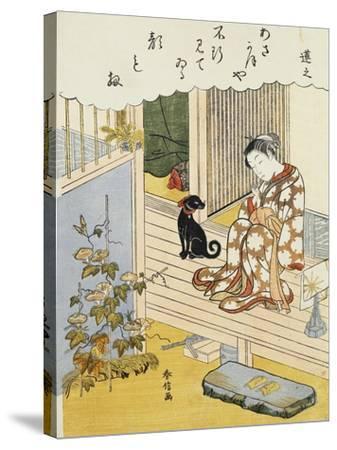 A Courtesan Seated on a Veranda Brushing Her Teeth and Pensively Looking at Flowering Morning Glory- Harunobu-Stretched Canvas Print