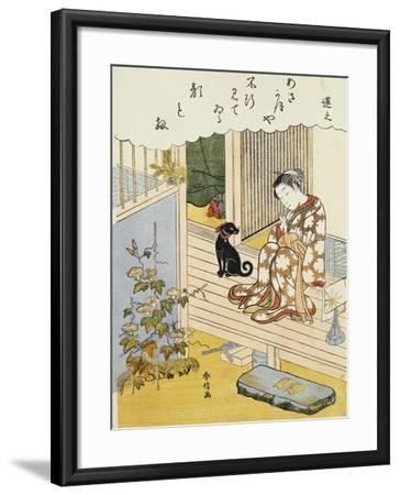 A Courtesan Seated on a Veranda Brushing Her Teeth and Pensively Looking at Flowering Morning Glory- Harunobu-Framed Giclee Print