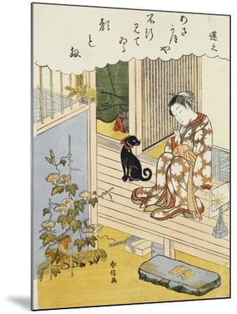 A Courtesan Seated on a Veranda Brushing Her Teeth and Pensively Looking at Flowering Morning Glory- Harunobu-Mounted Giclee Print