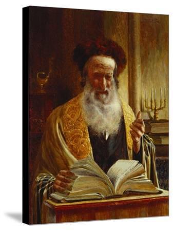 Rabbi Delivering a Sermon-Joseph Jost-Stretched Canvas Print