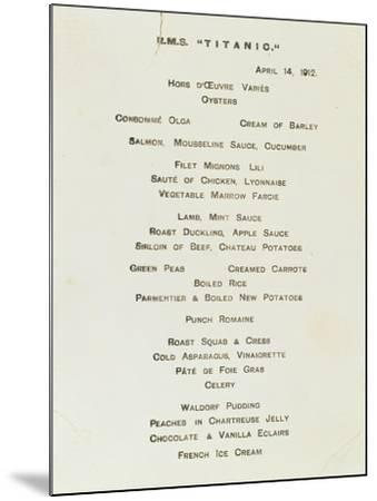 An Important First Class Passenger Menu from the R.M.S. Titanic, Cafe Parisien--Mounted Giclee Print
