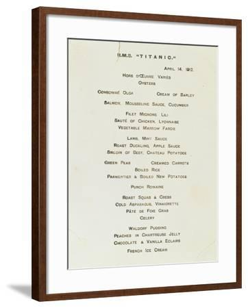 An Important First Class Passenger Menu from the R.M.S. Titanic, Cafe Parisien--Framed Giclee Print