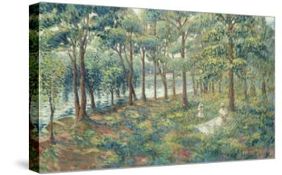 Madame Lebasque and Her Son on the Bank of the Marne; Madame Lebasque Et Sa Fille Au Bord De La…-Henri Lebasque-Stretched Canvas Print
