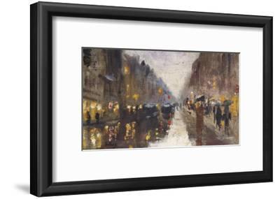 A Berlin Street in the Rain with Traffic; Berliner Strasse Beim Regen Mit Kutschen-Lesser Ury-Framed Giclee Print