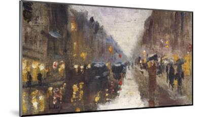A Berlin Street in the Rain with Traffic; Berliner Strasse Beim Regen Mit Kutschen-Lesser Ury-Mounted Giclee Print