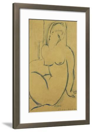 Seated Woman; Femme Assise-Amedeo Modigliani-Framed Giclee Print