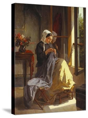 A Woman Sewing by an Open Window-Jules Trayer-Stretched Canvas Print